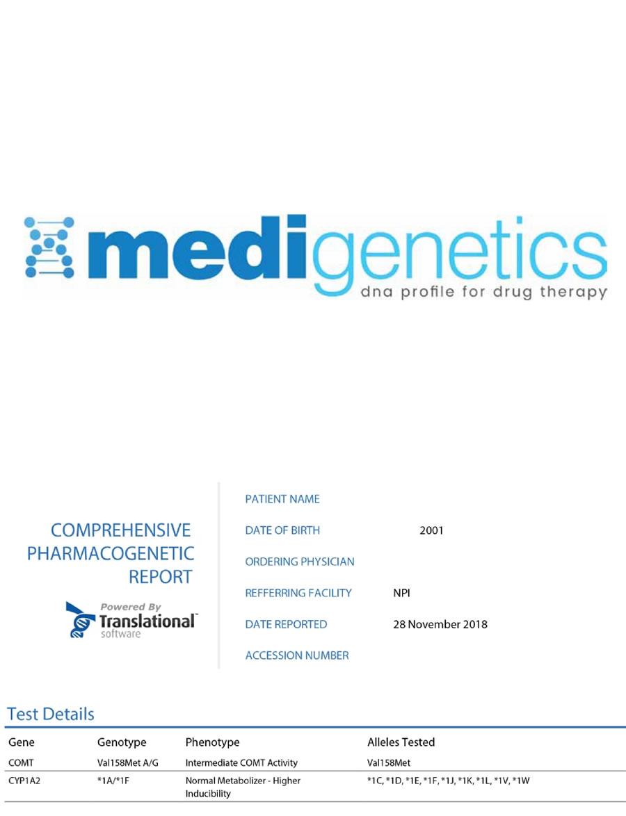 Farmakogenetik Örnek Rapor - FARMAKOGENETİK DNA PANELİ - Biruni Laboratuvarı - 444 1 864